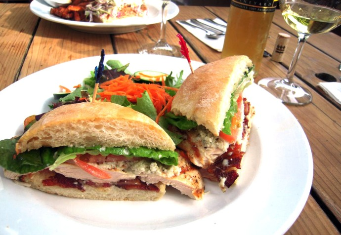 Cobb sandwich with grilled chicken, blue cheese, bacon, tomato and ...