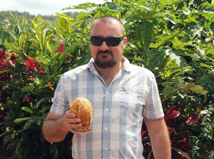 After fish tacos, we stop at a farm stand for cold, fresh coconut
